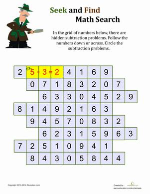 math search printable worksheet education