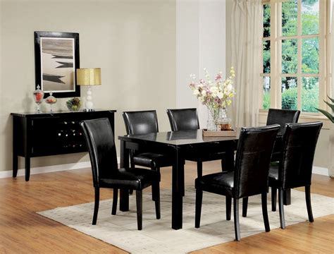 Black Dining Set by Portland Black Marble Top Dining Table Set Black Chairs 7pc