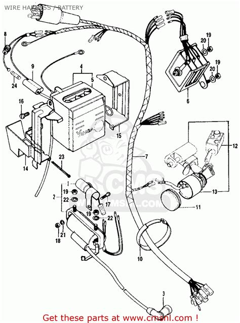 honda ct90 trail 1970 k2 usa wire harness battery schematic partsfiche