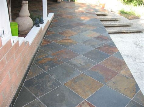 installation of slate tile for backyard patio photo home