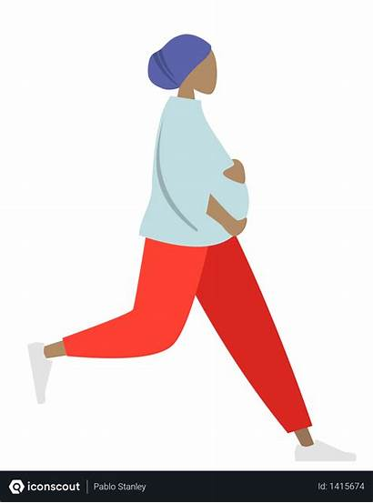 Pregnant Running Woman Illustration Vector