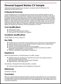 support worker resume objective personal support worker cv sle myperfectcv