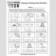 Kindergarten Rhyming Words Worksheet  Free Kindergarten English Worksheet For Kids