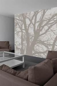 Papier Peint Arbre Noir Et Blanc : papier peint panoramique arbres noir et blanc ~ Nature-et-papiers.com Idées de Décoration