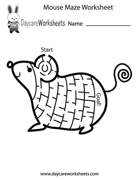 preschool mouse maze worksheet