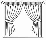 Curtain Curtains Sketch Template Close Pole Hand Drawn Coloring Pages Arrangements Forms Common Hooks sketch template