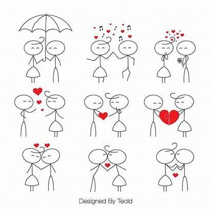Stick Figure Clip Figures Drawing Couple Valentine