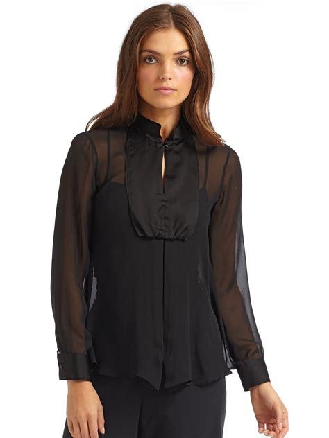sheer black blouse giorgio armani sheer silk blouse in black lyst