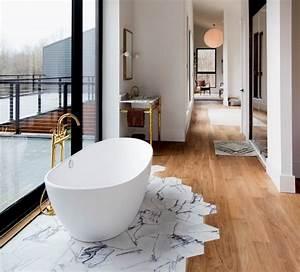 Salle De Bain Marbre Blanc : la salle de bain avec parquet ou les meilleures alternatives pour le plancher en bois dans l ~ Nature-et-papiers.com Idées de Décoration