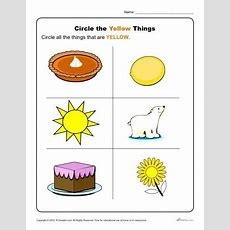 Circle The Yellow Things  K12  Color Worksheets For Preschool, Preschool Colors, Toddler