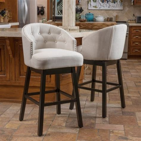 Home Bar Outlet by Ogden 35 Inch Fabric Swivel Backed Barstool Set Of 2 By