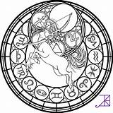Coloring Sagittarius Zodiac Stained Glass Amethyst Akili Deviantart Pages Adult sketch template