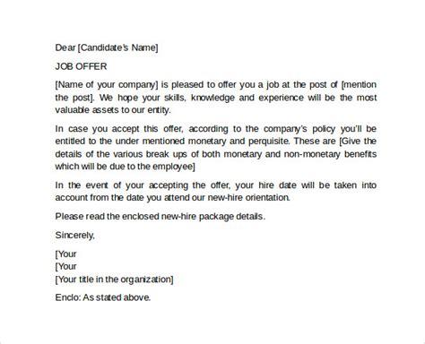 sample offer letter template    documents