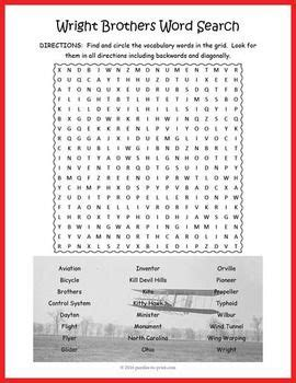 wright brothers word search puzzle back to school