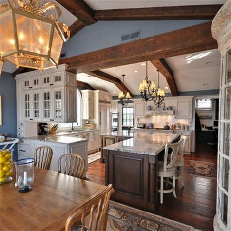 Smokey Blue Paint, taupe cabinets   Kitchen Ideas