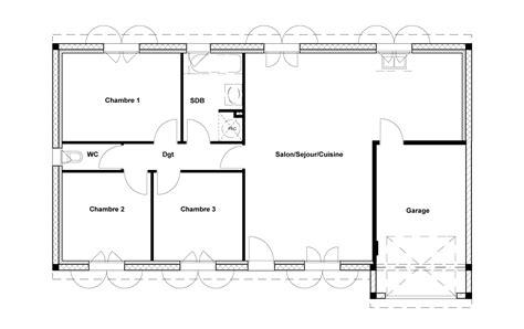 maison 3 chambres plan maison plain pied 3 chambres 1 bureau maison plan