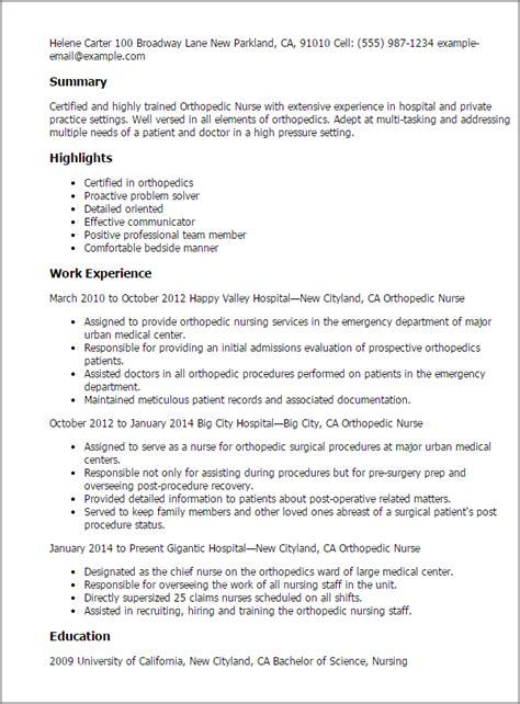 orthopedic nurse resume templates