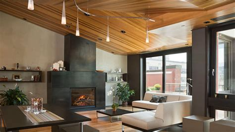 living rooms  wooden ceilings exuding  warm aura