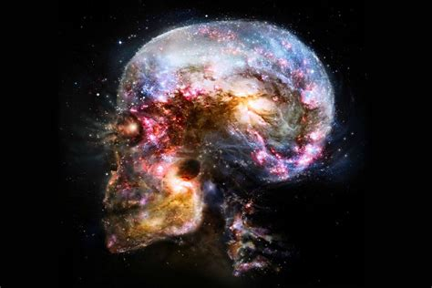 space universe skull abstract fantasy art poster print