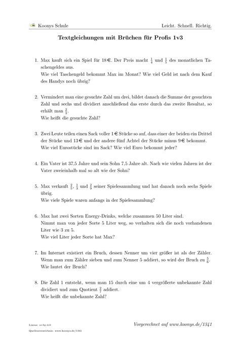 Aufgaben Textgleichungen Mit Brüchen Für Profis 1v3 Mit
