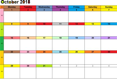 Free October 2018 Landscape & Portrait Calendar Template ...