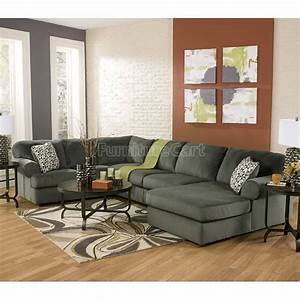 Jessa place pewter sectional living room set furniture for Sectional sofa placement