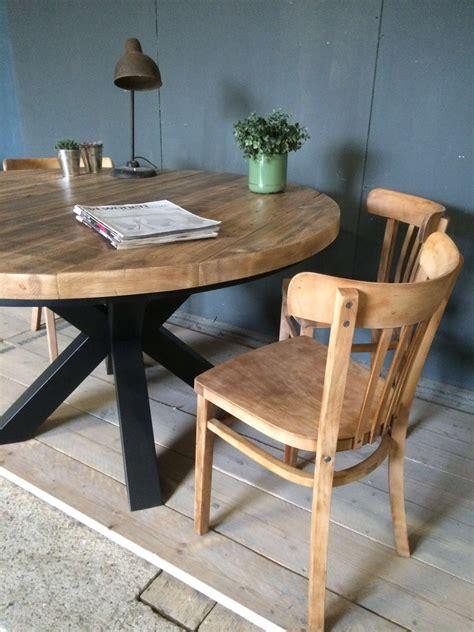 ronde eettafel industrieel robuuste ronde eettafel industriele houten poot deze