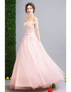 Pink Ball Gown Off The Shoulder Floor Length Tulle Wedding