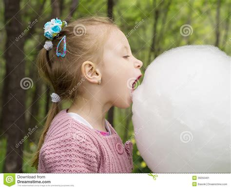 girl  cotton candy stock photo image