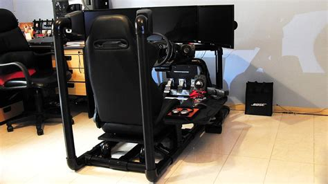 sim racing rig pvc rig with monitor stand sim racing rigs cockpit insidesimracing forums