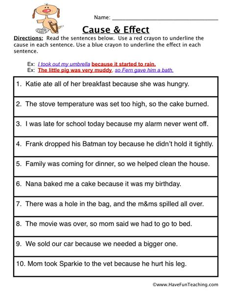 Cause And Effect Worksheet  Find It  Have Fun Teaching