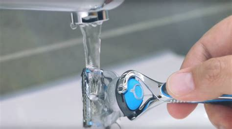 razor care cleaning tips water gillette through shaving under running run front blades tap hold strokes few every