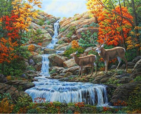 pinturas oleo paisajes con cascadas y animales animals