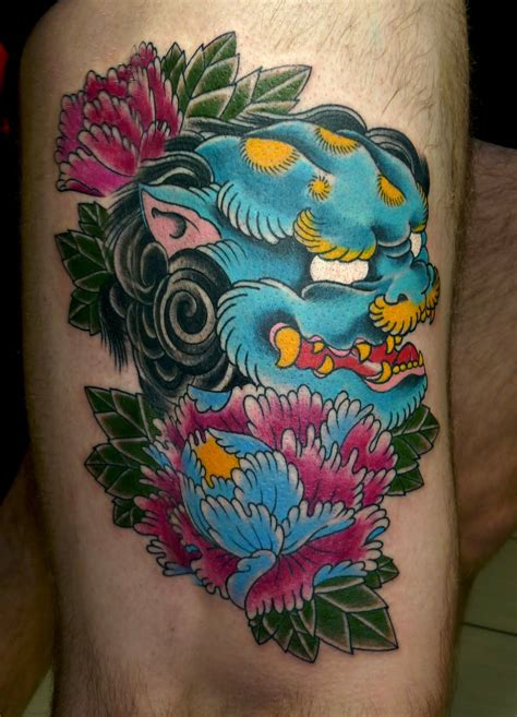 guardian lion blue foo dog tattoo inspirations guardian lion foo dog foo dog tattoo dog