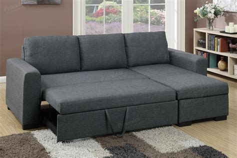 sectional sofa with sleeper bed poundex samo f6931 grey fabric sectional sofa bed steal