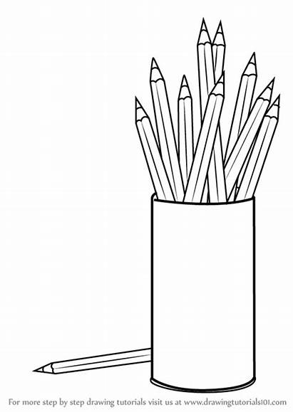 Pencil Box Draw Coloring Drawing Objects Learn