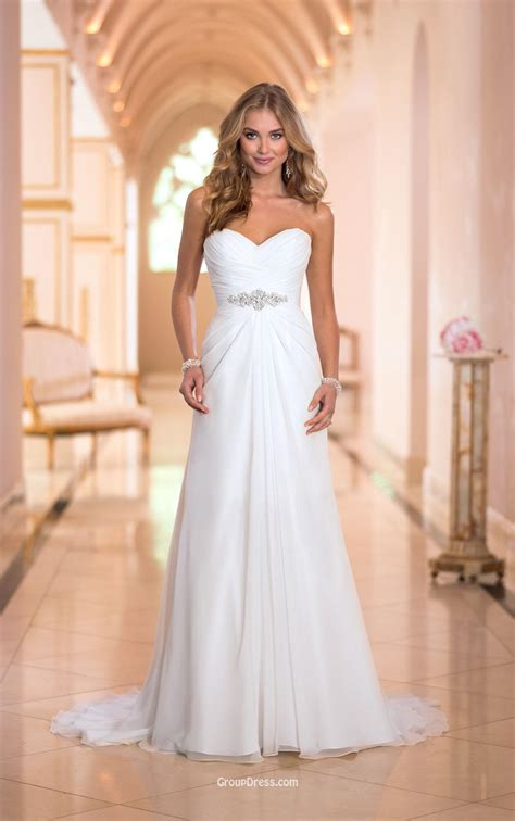 junior dresses a line strapless sweetheart stunning ivory chiffon wedding