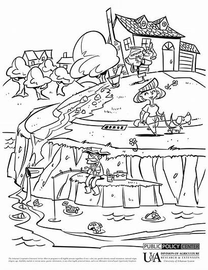 Pollution Water Coloring Drawing Pages Environment Land
