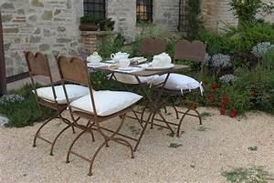 Tavolo E Sedie Da Giardino In Ferro Battuto