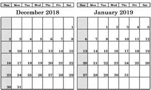Dec 2018 Jan 2019 Calendar Template Printable Monthly