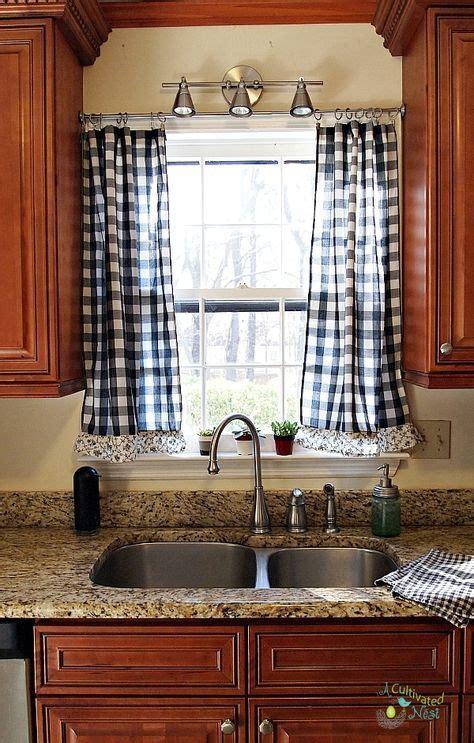 ideas kitchen window curtains  sink tension rods