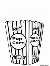 Popcorn Coloring Clipart Bucket Clip Bag Printable Pages Box Carnival Crafts Template Movie Tub Empty Cliparts Preschool Theme Printables Circus sketch template