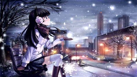 wallpaper engine anime girl snowfall  fps youtube