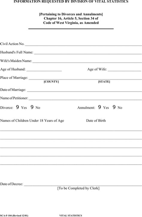 virginia vital statistics form download west virginia divorce papers for free formtemplate