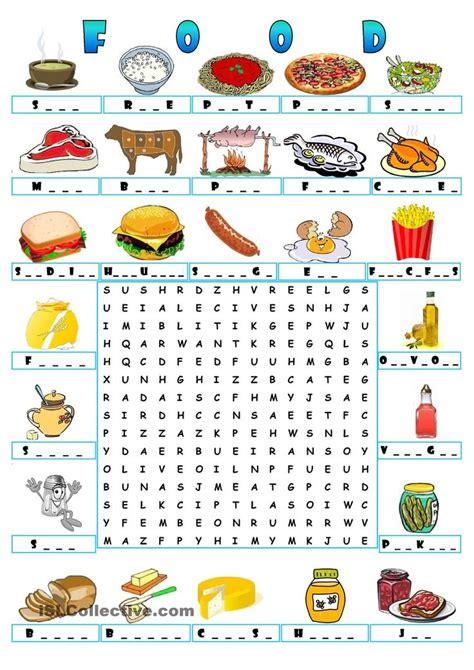 word for cuisine food wordsearch teaching the esl efl