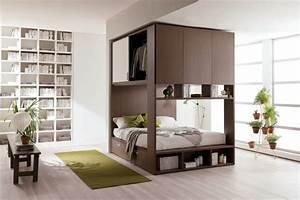 Lit Gain De Place : fa ons d 39 am nager studio 58 id es int ressantes ~ Premium-room.com Idées de Décoration