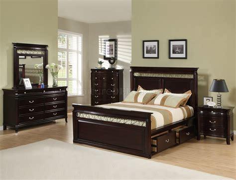 Dark Espresso Finish Contemporary Bedroom Wstorage Bed