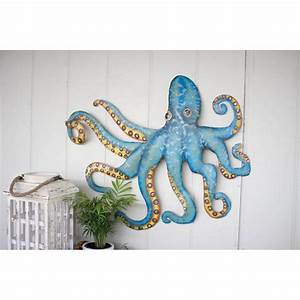 hammered recycled metal octopus wall hanging With octopus wall art
