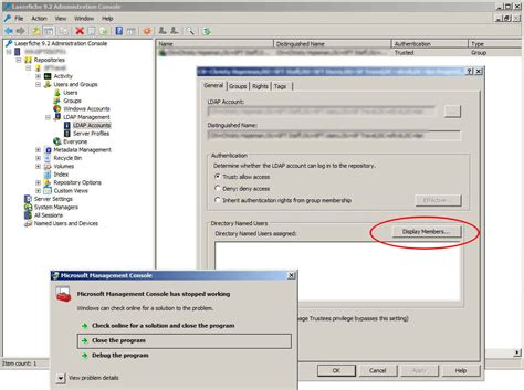 admin console crashes setting  ldap users laserfiche