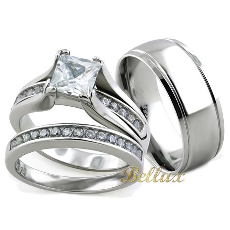 his and hers wedding rings sets princess cut rings set